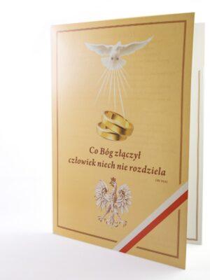 Teczka na dokumenty ślubne z gołębicą i orłem w koronie 15