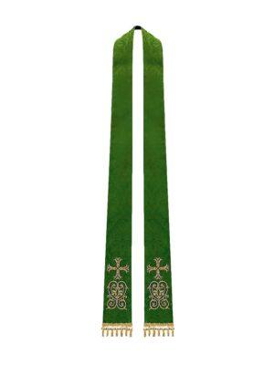 Stuła z haftem krzyża i ornamentem