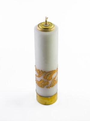 Świeca olejowa biała z ornamentem złotym