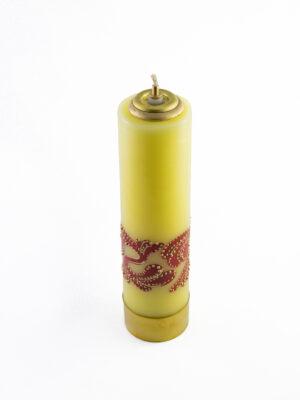 Świeca olejowa żółta z ornamentem czerwonym