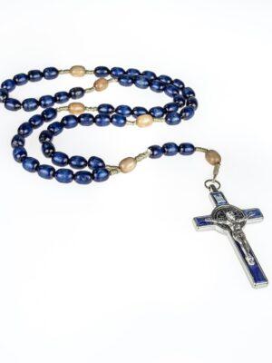 Granatowy różaniec z krzyżem św. Benedykta