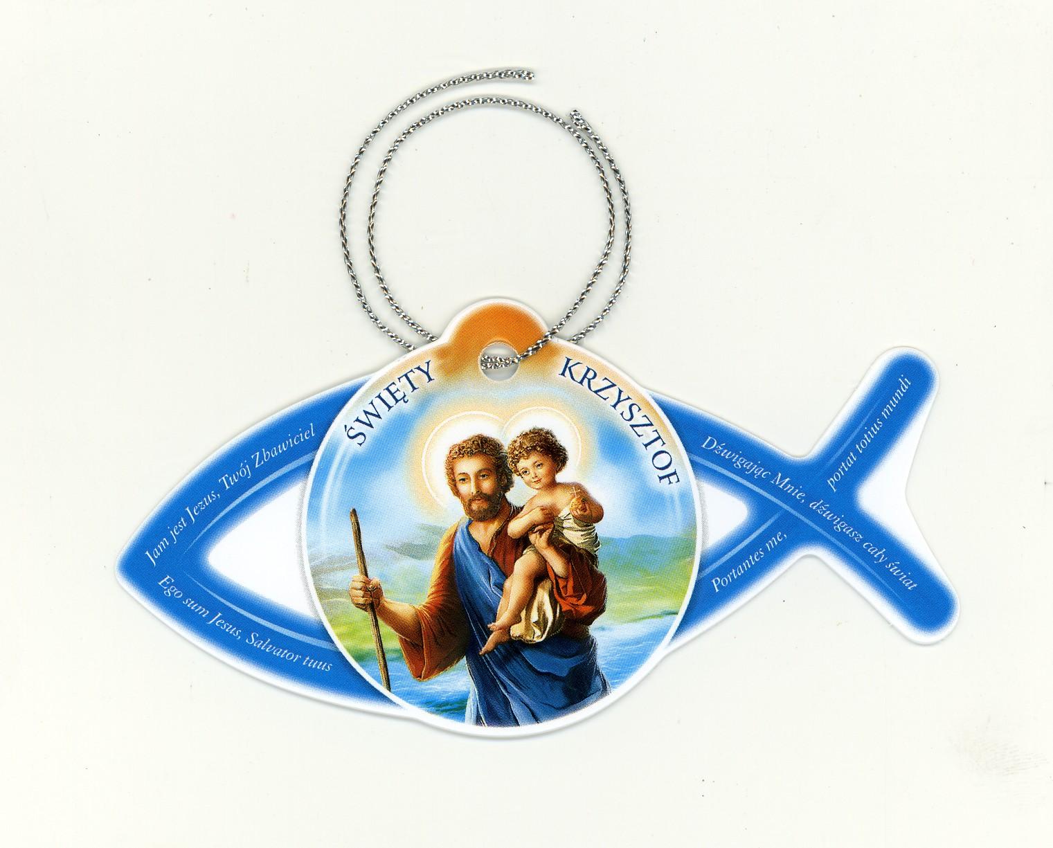 Zawieszka rybka ze św. Krzysztofem