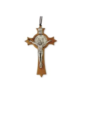 Krzyż benedyktyński drewniany z rzemykiem