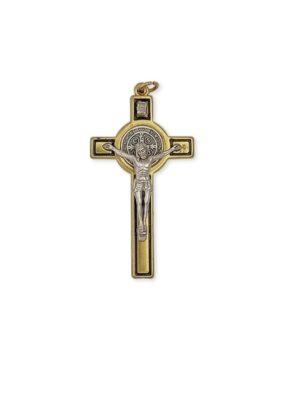 Krzyż benedyktyński w kolorze złoto-czarnym