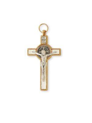 Biały krzyż benedyktyński w obramowaniu o kolorze złotym