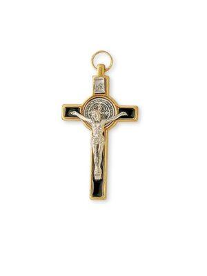 Brązowy krzyż benedyktyński w obramowaniu o kolorze złotym