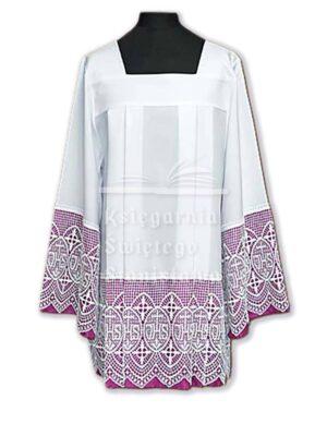 Komża kapłańska z fioletowym podbiciem