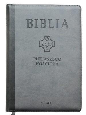 Biblia Pierwszego Kościoła, szara z paginatorami i suwakiem