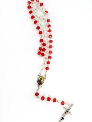 Różaniec z biało-czerwonych kryształków