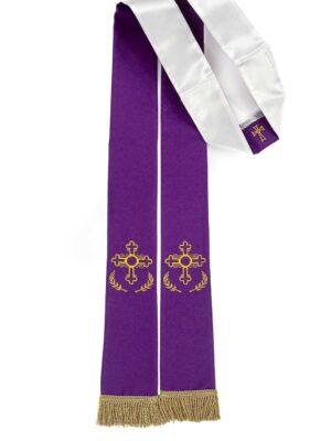 Stuła kapłańska dwustronna podróżna - fioletowo-biała