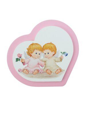 Obrazek z dwoma aniołkami z kwiatuszkami