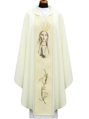 Ornat z wizerunkiem Matki Bożej Fatimskiej w kolorze sepii