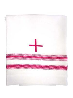 Alba kapłańska z krzyżem i podwójną mereżką w kolorze biskupim