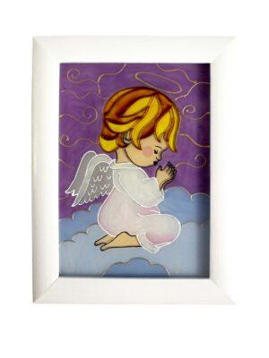 Obrazek malowany na szkle - Anioł Stróż