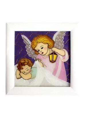 Obrazek malowany na szkle – Anioł Stróż z latarenką