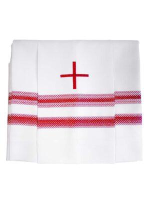 Komża kapłańska z krzyżem i podwójną mereżką w kolorze biskupim (odcień fioletu)