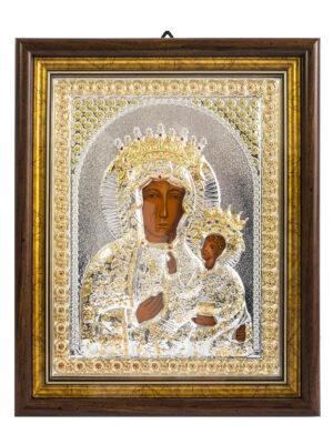 Ikona Matka Boża Częstochowska posrebrzana