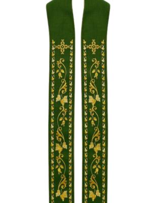 Stuła ze złotym haftem winorośli i krzyża