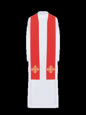 Stuła z haftem krzyża jerozolimskiego