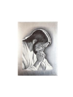 Ikona Jezus modlący się czarno-biała