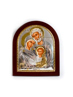 Ikona Święta Rodzina posrebrzana