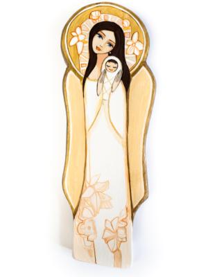 Anioł z Dzieciątkiem na drewnie