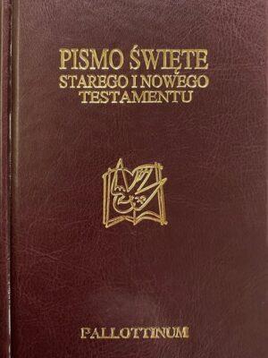 Biblia Pielgrzyma - bordowe złote brzegi