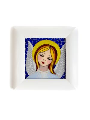 Obraz malowany na szkle Anioł Stróż niebieski
