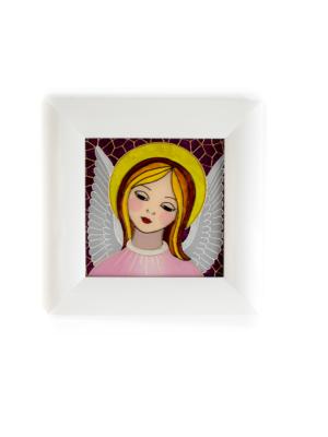Obraz na szkle - Anioł Stróż na różowym tle