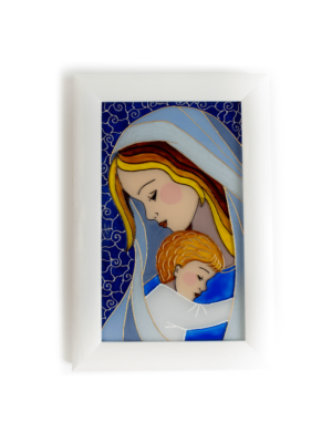 Matka Boża z Dzieciątkiem na szkle - obrazek