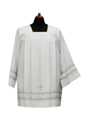 Komża kapłańska z krzyżem i podwójną mereżką w kolorze popielatym