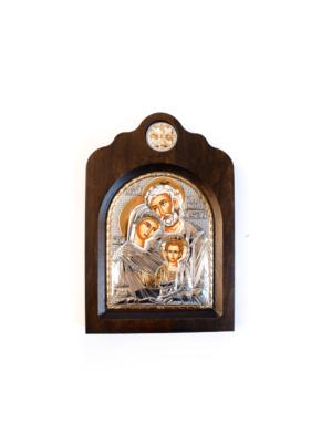 Święta Rodzina srebrna ikona bizantyjska