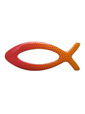 Rybka naklejka żelowa na auto czerwono-pomarańczowa