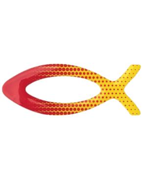 Czerwono-żółta rybka na auto