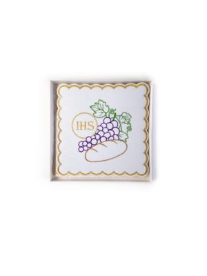 Bielizna kielichowa z haftem Hostii, chleba i winogron