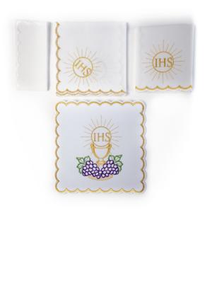 Bielizna kielichowa z haftem Hostii, kielicha i winogron wzór 2