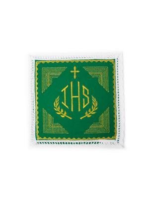 Bielizna kielichowa ze złotym haftem i palką w kolorze zielonym
