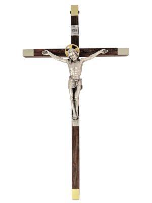 Krzyż drewniany z metalowymi elementami