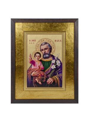 Ikona Świętego Józefa - złote tło w ramie