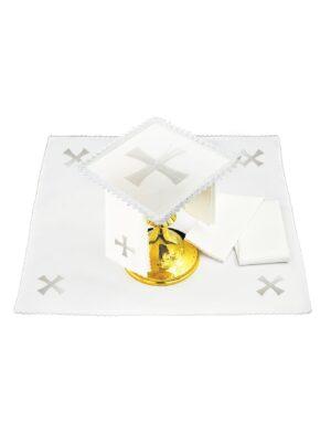 Bielizna kielichowa lniana biały prosty krzyż