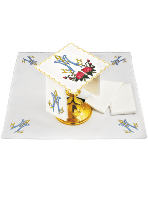 Bielizna kielichowa maryjna różany haft