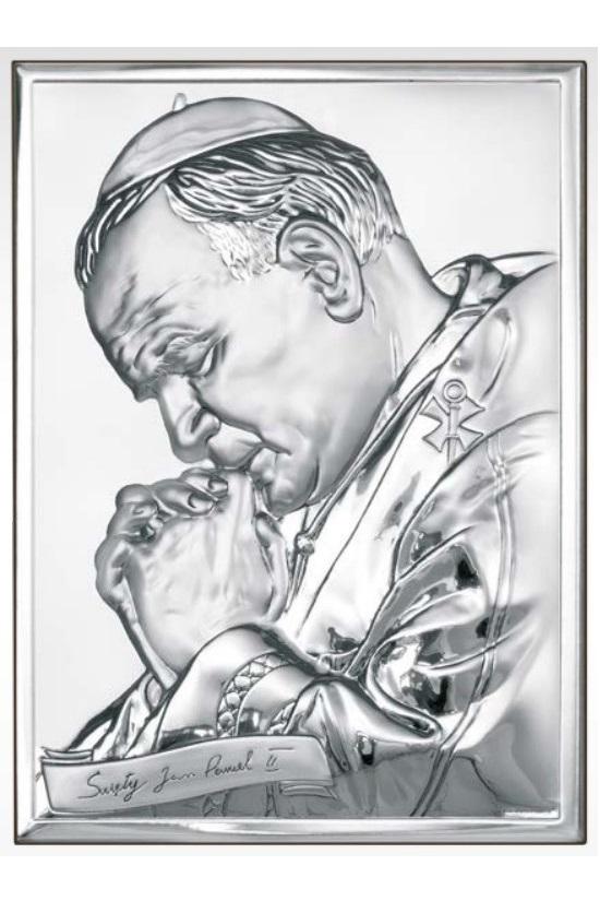 Obraz z wizerunkiem Jana Pawła II - posrebrzany
