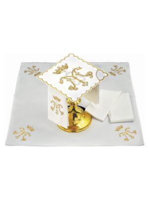 Bielizna kielichowa M z koroną wyszywane nićmi w kolorze srebrnym i złotym