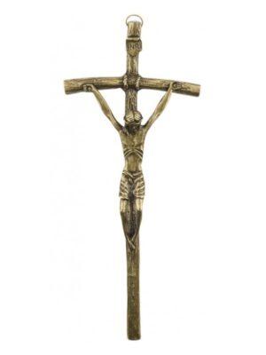 """Krzyż wiszący """"papieski"""" w kolorze starego złota"""