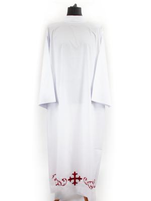 Alba prosta z haftem krzyża w kolorze czerwonym