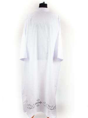 Alba prosta z haftem krzyża w kolorze srebrnym