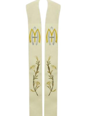 Stuła Maryjna z haftem w odcieniach sepii